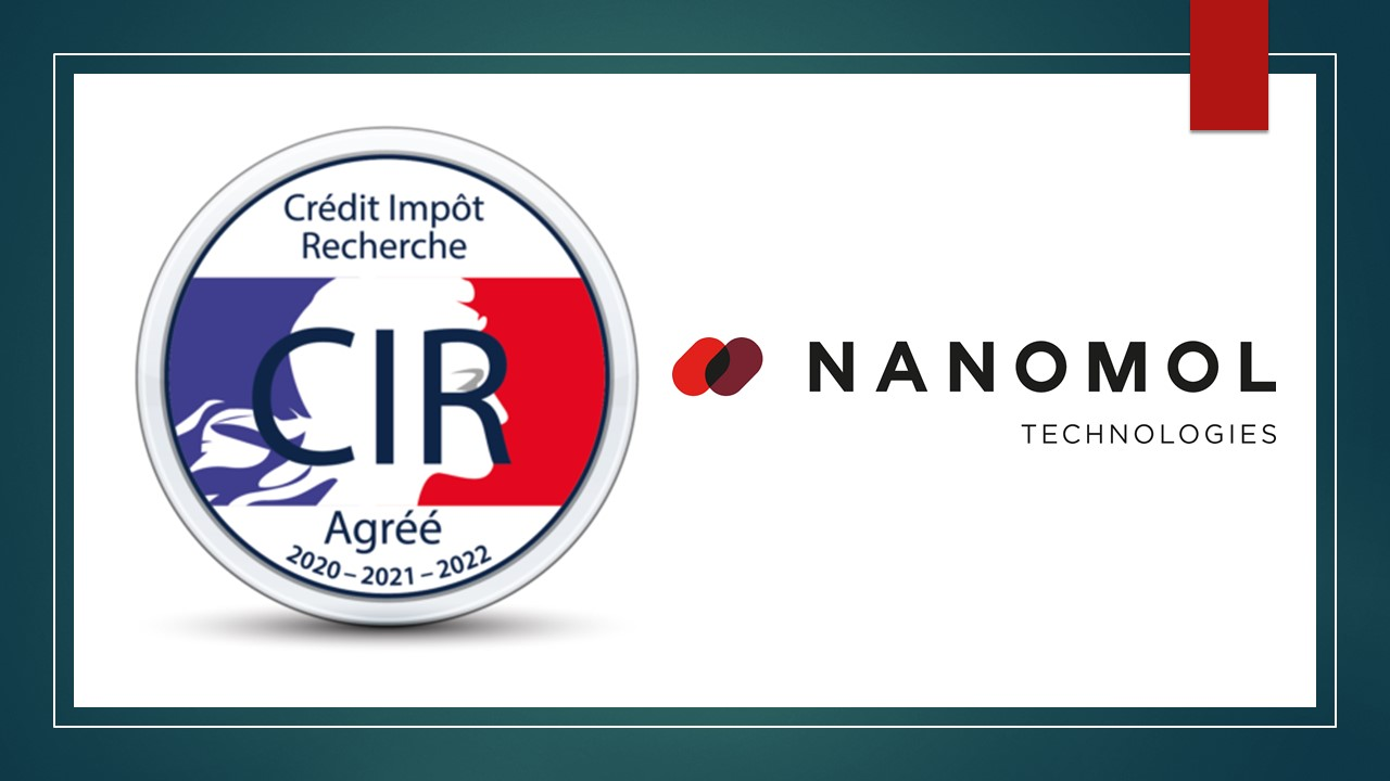 Nanomol Technologies receives Crédit d'Impôt Recherche (CIR) accreditation by the French Ministry of Higher Education and Research